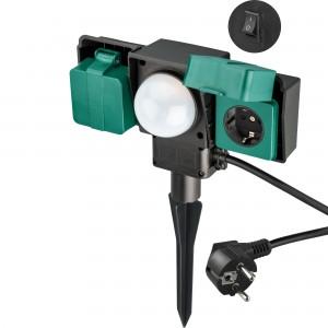 Prelungitor gradina Goobay, 2 prize + senzor, 2 m, 3680W, intrerupator