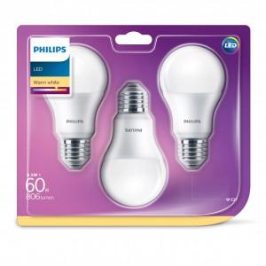 Bec LED Philips clasic A60M E27 8.5W lumina calda, 3 buc