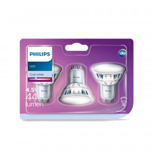 Bec LED Philips spot GU10 4.5W lumina neutra, 3 buc