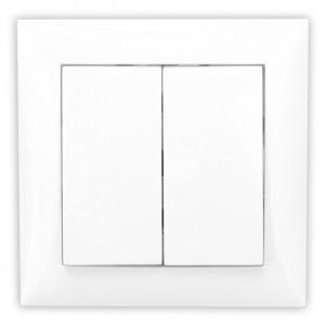 Intrerupator dublu Hoff, incastrat, rama inclusa, 10A, alb