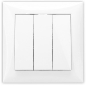 Intrerupator triplu Hoff, incastrat, rama inclusa, 10A, alb