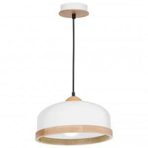 Suspensie Studio KL 6814, 1 x E27, alb + lemn deschis, D 320 mm