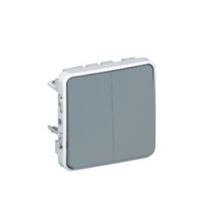 Intrerupator cap scara dublu Legrand Plexo 069525, aparent, rama inclusa, gri