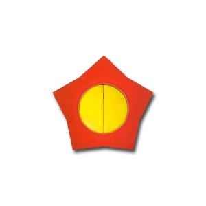 Intrerupator dublu Metalka-Majur Happy 1641004, incastrat, rama inclusa, stea, galben cu rosu