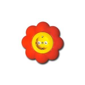 Priza simpla Metalka-Majur Happy 1633052, incastrata, rama inclusa, contact de protectie, galbena cu rosu, floare