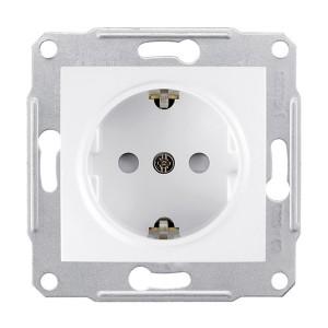 Priza simpla Schneider Electric Sedna SDN3000121, incastrata, contact de protectie, alba