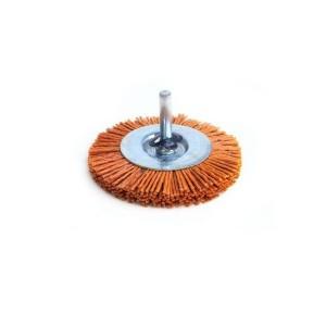Perie cupa, cu tija, din nylon abraziv, pentru inox / aluminiu / metale moi, Peromex 5143G, diametru 100 mm
