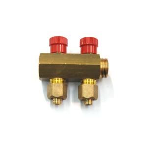 Distribuitor 2 cai cu robineti 7882L 16 mm x 3/4 inch