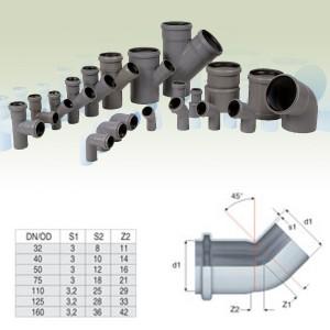 Cot PP HTB, pentru scurgere, D 125 mm, 45 grade