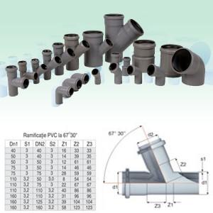 Ramificatie PP HTEA, pentru scurgere, D 110 x 50 mm, 67 grade