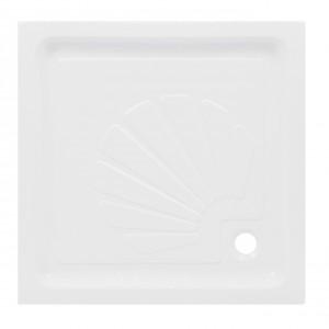 Cadita de dus patrata Martplast, acril + poliuretan, alb, 80 x 80 x 15 cm