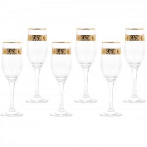 Pahar sampanie, Violet, din sticla, 200 ml, set 6 bucati