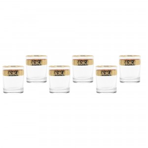 Pahar whisky, Violet, auriu, din sticla, 250 ml, set 6 bucati