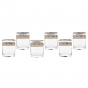 Pahar whisky, Violet, platinum, din sticla, 250 ml, set 6 bucati