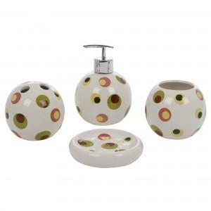 Set accesorii pentru baie, Kadda 1106243, ceramica, 4 piese, model cu buline