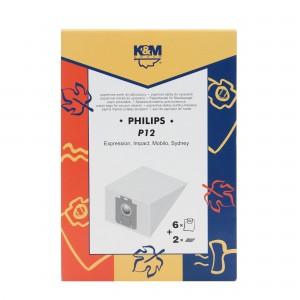Saci aspirator Philips Sydney, hartie, pachet 6 bucati + filtre