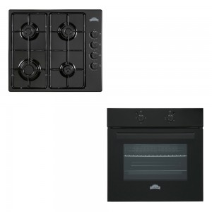Pachet Nuova Cucina cuptor incorporabil electric FE 603 + plita incorporabila pe gaz PG 60, negru