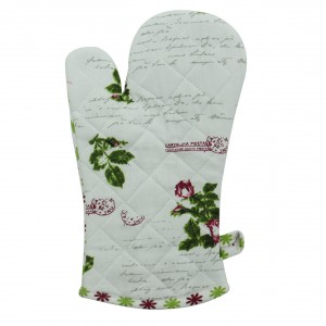 Manusa bucatarie N-7743, model floral, bumbac + poliester, bej + roz + verde, 32 x 18 cm