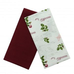Prosop bucatarie N-7743, set 2 bucati, model floral, bumbac, bej + roz + verde, 70 x 50 cm