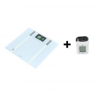 Cantar electronic pentru baie, Well Bodymaster, sticla securizata, LCD, 150 kg, alb + tensiometru digital de brat BLDP-WRST-PRECISE-WL, 0-299 mmHg, LCD, alb