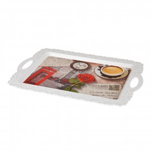 Tava dreptunghiulara pentru servire Inaplast 86003, plastic, diverse culori, 34 x 32 cm