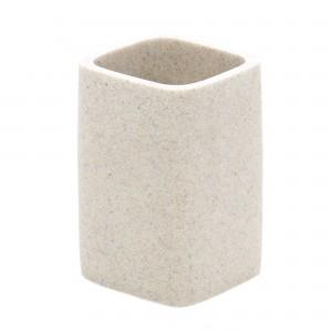 Pahar toaleta Kadda Qubika BPO-1409B, polirasina, finisaj piatra, 11 x 7.4 x 7.4 cm
