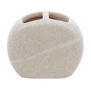 Suport periute dinti, Kadda Stone BPO-0822B, polirasina, finisaj piatra, 10.5 x 12.5 x 5 cm