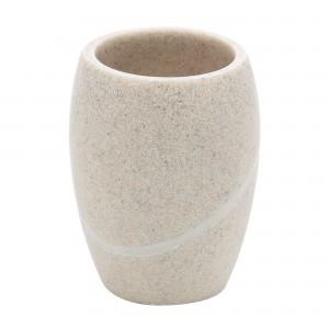 Pahar toaleta Kadda Stone BPO-0822C, polirasina, finisaj piatra, 10.2 x 7.9 cm