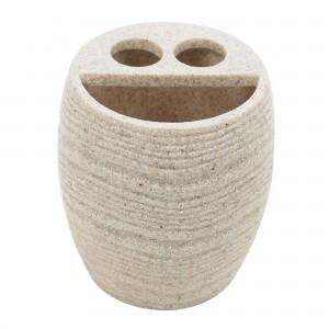 Suport periute dinti, Kadda Sand BPO-0375B-1, polirasina, finisaj piatra, 10.3 x 9.8 cm