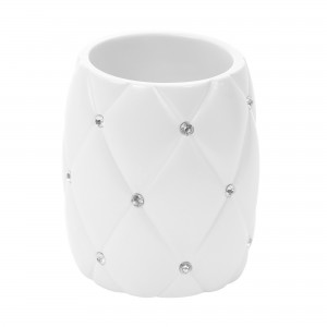 Pahar toaleta Kadda Shiny BPO-1160C, polirasina, alb, cu pietricele, 10 x 8.5 cm