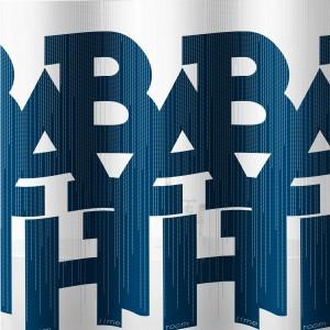 Perdea dus Bath, model inscriptionat, alb + albastru, 180 x 200 cm