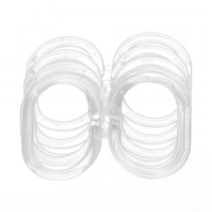 Inele perdea dus, plastic, transparente, AN0103, set 12 bucati