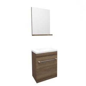 Masca baie + lavoar + oglinda Savini Due Perla, cu usa, rovere fumo, montaj suspendat, 42 x 23 x 55.5 cm