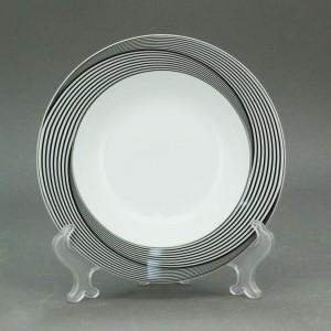 Farfurie intinsa mare EY3081, portelan, argintiu + gri + negru, 24 cm