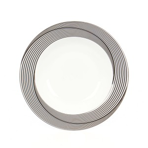 Farfurie adanca EY3081, portelan, argintiu + gri + negru, 21 cm