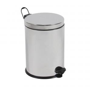 Cos gunoi BCK409400 din inox + plastic, forma cilindrica, cromat, cu pedala si capac batant, 3L