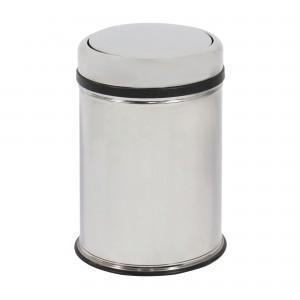 Cos gunoi BCK496400 din inox + plastic, forma cilindrica, cromat, cu capac gravitational, 11L