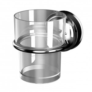 Pahar baie pentru igiena personala, cu suport, Davo Pro 12030000, sticla, montaj cu ventuze, 8 x 9.5 x 12.7 cm