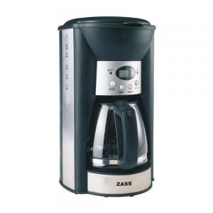 Cafetiera Zass ZCM 03 T, 1000 W, 1.25 l, capacitate 12 cesti, functie antipicurare, display LCD, negru + argintiu