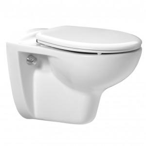 Set vas WC suspendat + rezervor incastrat + mecanism + capac + clapeta alba, Fayans Neo Rimless, din portelan, 35.5 x 112.5 x 53 cm