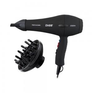 Uscator de par Zass ZHD 03, 2000 W, 2 viteze, 3 setari temperatura, functie ionizare, negru