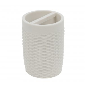 Suport periute dinti Silk 820071W-3, polistone, alb, 10 x 7.5 cm
