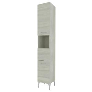 Dulap baie pe sol, 2 usi, cu sertar si polita, Savini Due Rubino, finisaj rovere grigio, deschidere pe stanga, 196 x 31.5 cm