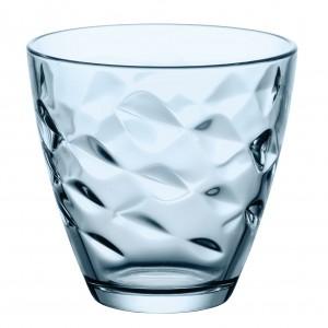 Pahar pentru apa / suc, Flora, din sticla bleu, 260 ml, set 6 bucati