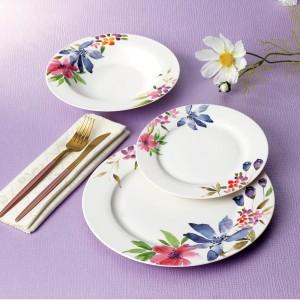 Set farfurii F044, portelan, violet + roz + verde + model floral, 18 piese