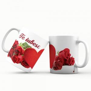 Cana cu mesaj Te iubesc, ES5530-142, ceramica, multicolor, 330 ml