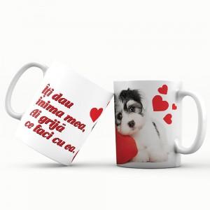 Cana cu mesaj Iti dau inima mea, ES5530-145, ceramica, 330 ml