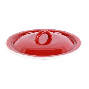 Capac rotund, bombat, din tabla emailata, rosu, 15 cm