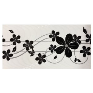 Decor faianta baie / bucatarie Ege Black semilucios negru 20 x 40 cm