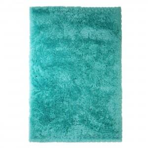 Covor living / dormitor Wuhan Chip Shaggy 6 poliester dreptunghiular albastru turcoaz 80 x 150 cm